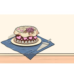 Tort on the table with spatula vector