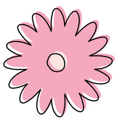 Watercolor silhouette of hand drawing pink daisy vector