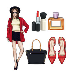 women fashion accesories and make up vector image