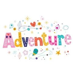 Word adventure decorative type lettering text vector