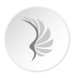 Gray wing of birds icon flat style vector image