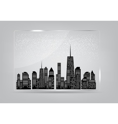 Glass frame with the city in the background vector image