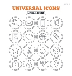 Universal icons smartphone mail and music vector