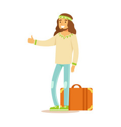 guy hippie dressed in classic woodstock sixties vector image