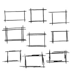 rectangle frames set of hand drawn bor vector image