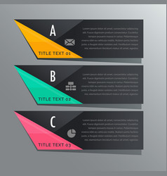 Dark theme three steps infographic banners with vector