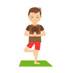 Young boy standing in yoga pose vector
