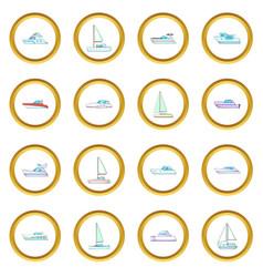 Yachts icons circle vector