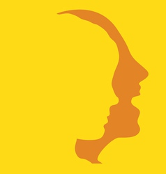 woman and man faces profiles vector image