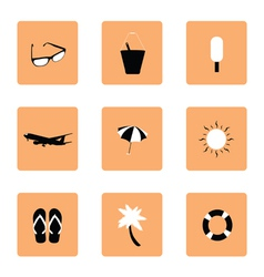Set of travel icon in black and white vector