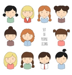 Set of colorful female faces icons funny cartoon vector