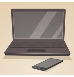 Laptop and smartphone vector