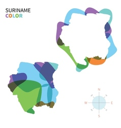 Abstract color map of suriname vector