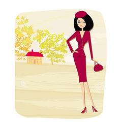 beautiful fashion autumn girl on rural landscape vector image