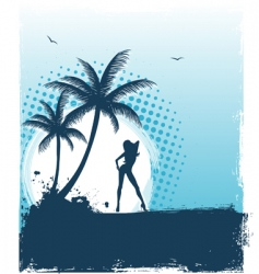 Tropic girl grunge back vector