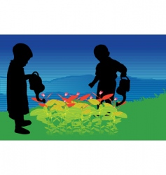 two children vector image