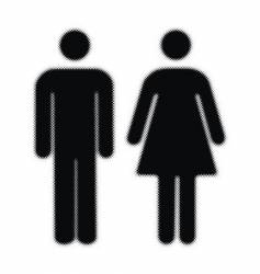 Woman and man halftones silhouettes vector