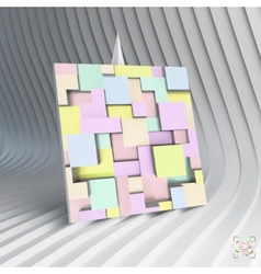 Business card 3d blocks structure background vector