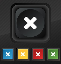 Cancel multiplication icon symbol set of five vector