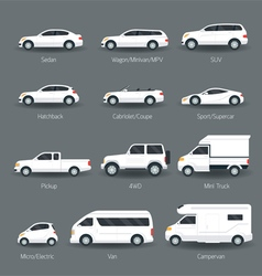 Car type and model objects icons set vector