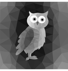 Polygonal owl on grey mosaic background vector