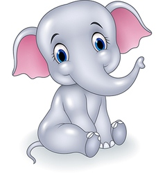 Cute baby elephant sitting isolated vector