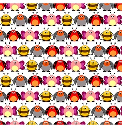 Pattern colorful comic butterflies ladybugs vector