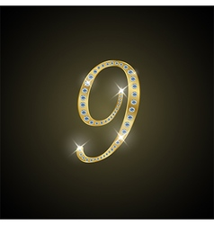 Shiny number nine of gold and diamond vector image