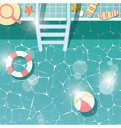 Swimming pool top view summer holiday vacation vector