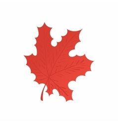 Red maple leaf icon cartoon style vector