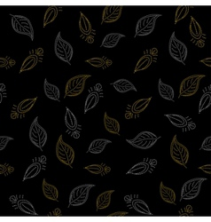 background leaves on black vector image vector image