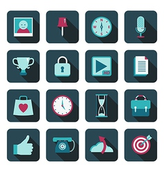 Blue media icons vector