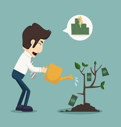Businessman watering a plant of money vector