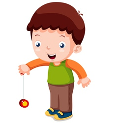 Cartoon boy playing yo-yo vector image