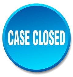 Case closed blue round flat isolated push button vector