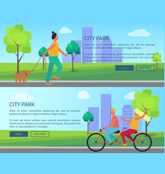 city park collection of cartoon posters with text vector image vector image