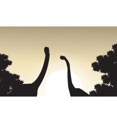 Collection of brachiosaurus landscape silhouettes vector image vector image