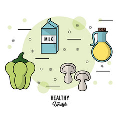 colorful poster healthy lifestyle with set of vector image vector image