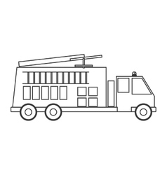 contour silhouette with fire truck vector image