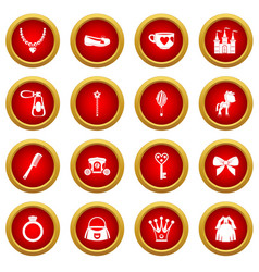 Doll princess items icon red circle set vector
