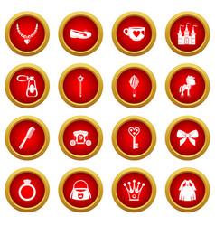Doll princess items icon red circle set vector