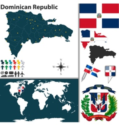 Dominican Republic map world vector image