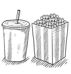 doodle soda popcorn vector image vector image