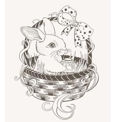 Easter bunny in a wicker basket vector image vector image