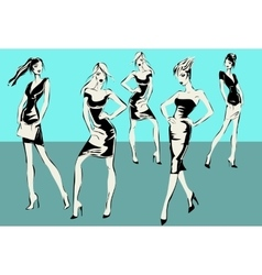 Fashion models in sketch style vector
