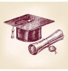 graduation cap and diploma hand drawn vector image