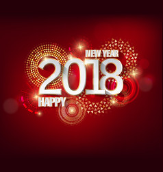 happy new year 2018 with firework background and vector image