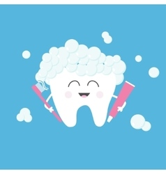 Healthy tooth holding toothpaste and toothbrush vector