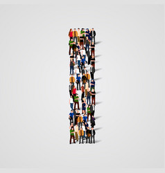 large group of people in letter i form vector image
