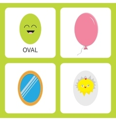 Learning oval form shape smiling face cute vector